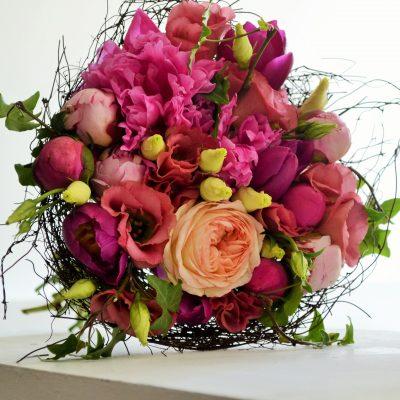 Buchet bujori, eustoma si trandafiri