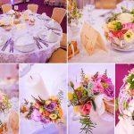 Aranjament masa invitati cu ceainic, cescute si carti vintage