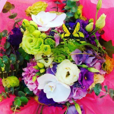 Buchet eustoma, phalaenopsis si hortensie