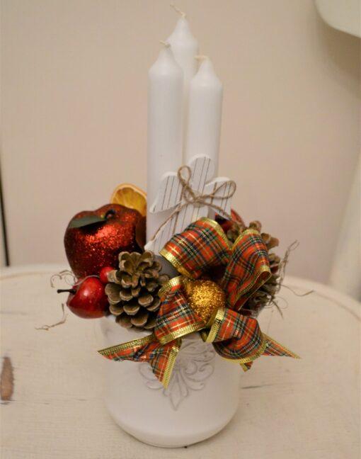 Aranjament Crăciun cu 3 lumânări
